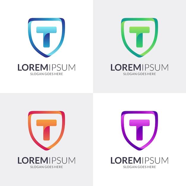 シールドと文字tロゴデザイン Premiumベクター