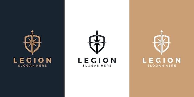 Shield / armor / sword and star Premium Vector