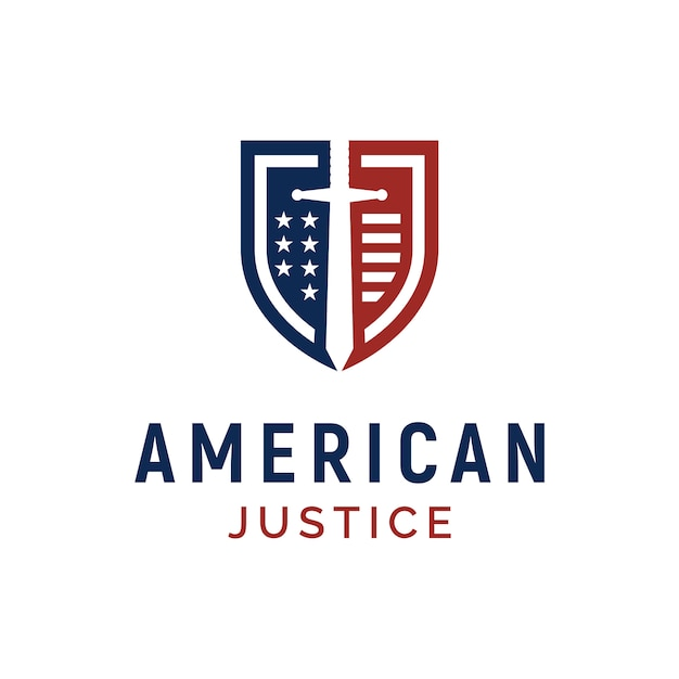 Shield, blade and american flag for us justice / guard logo design Premium Vector