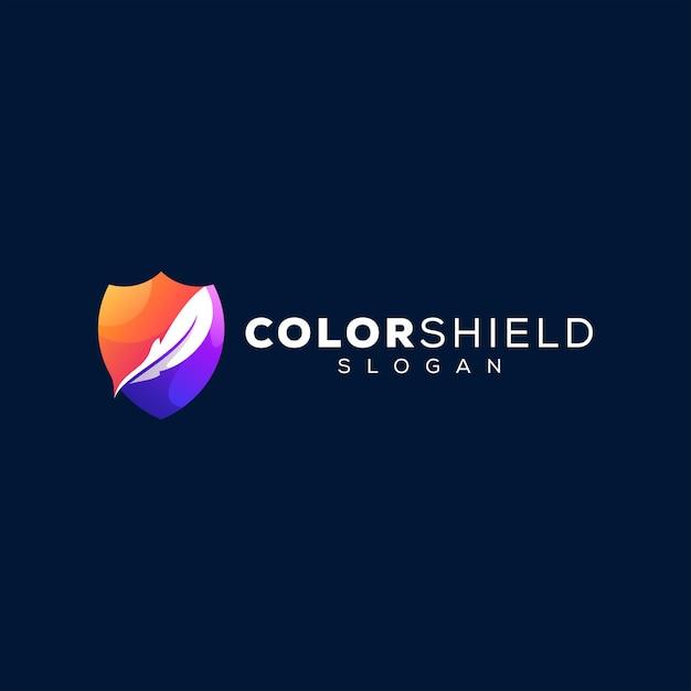 Дизайн логотипа градиента цвета щита Premium векторы