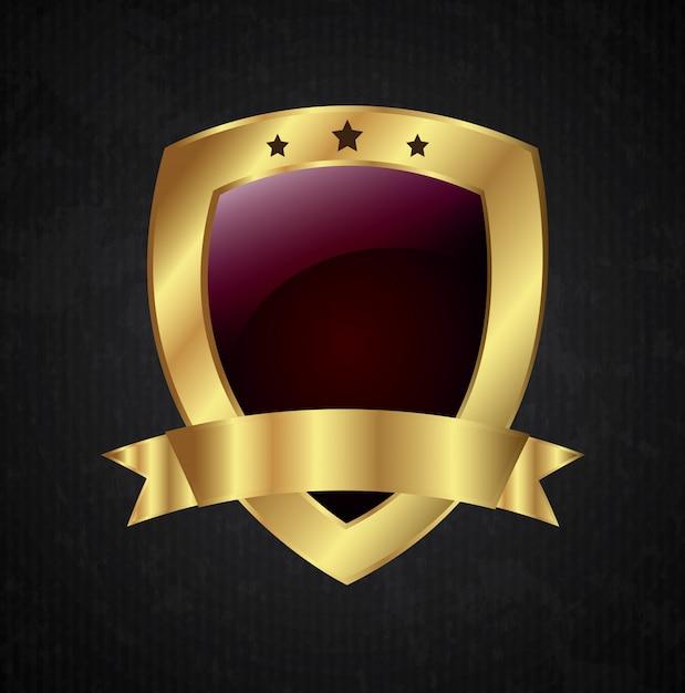Shield golden Premium Vector