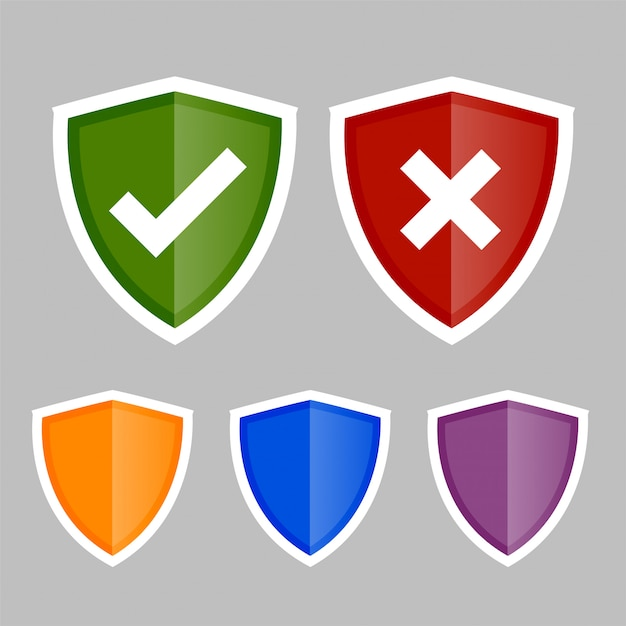 Shield icons with correct and wrong symbols Free Vector