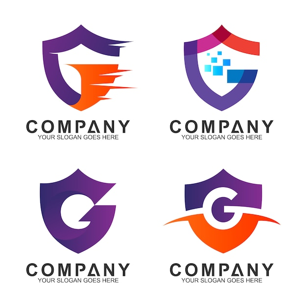 Shield letter g business logo collection Premium Vector