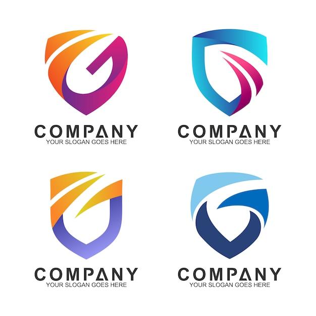 Shield + letter g logo set Premium Vector
