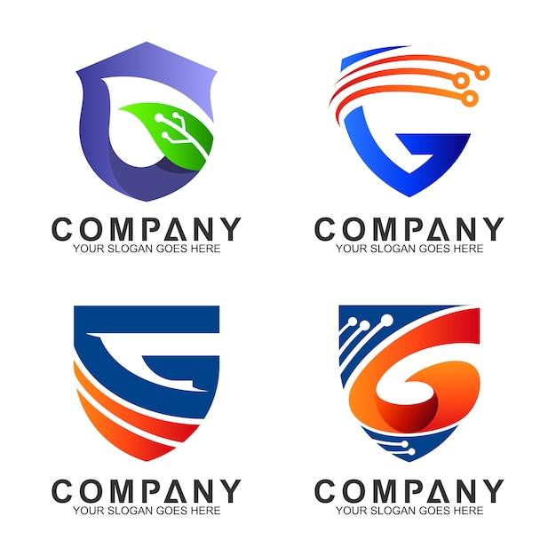 Shield letter g logo set Premium Vector