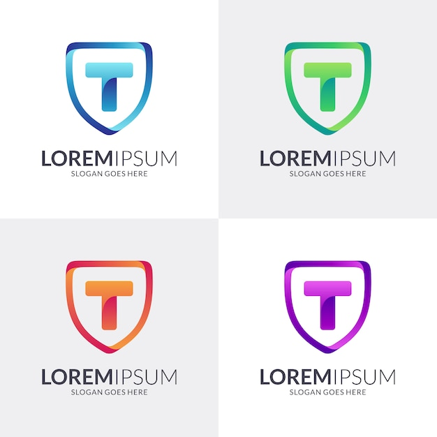Shield and letter t logo design Premium Vector