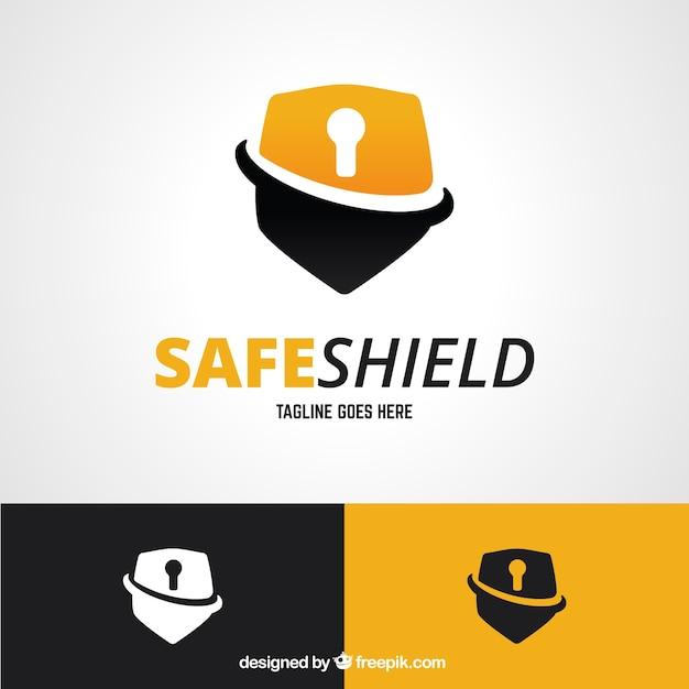 Shield logo padlock Free Vector