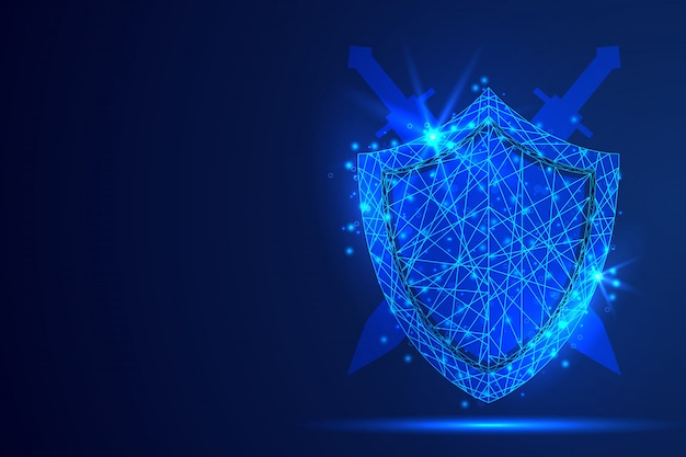 Shield polygonal abstract background. Premium Vector