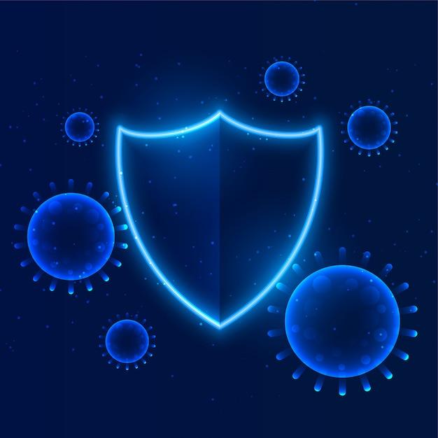 建物の免疫に入るようにコロナウイルスを保護するシールド 無料ベクター