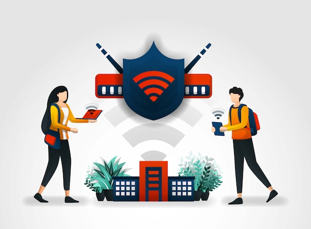 Shield protects students access through wifi Premium Vector