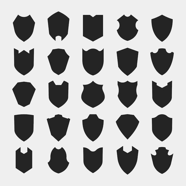Shield Silhouette Icon Set Premium Vector