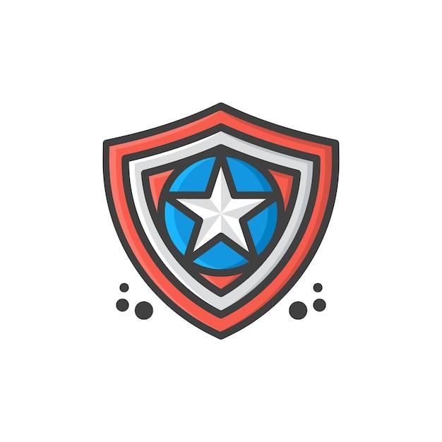 Shield star logo template vector illustration Premium Vector