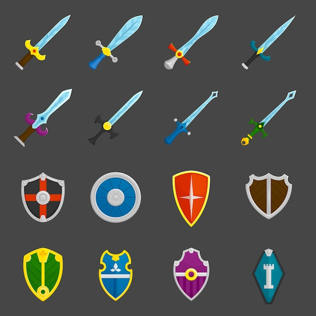 Shield swords emblems icons set Free Vector