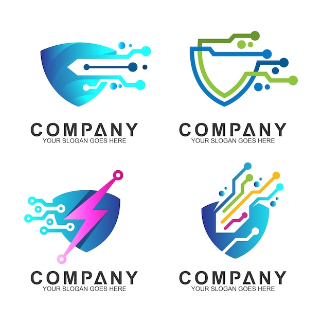 Shield tech logo set Premium Vector