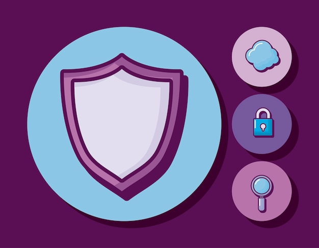 Shield with business icons Free Vector