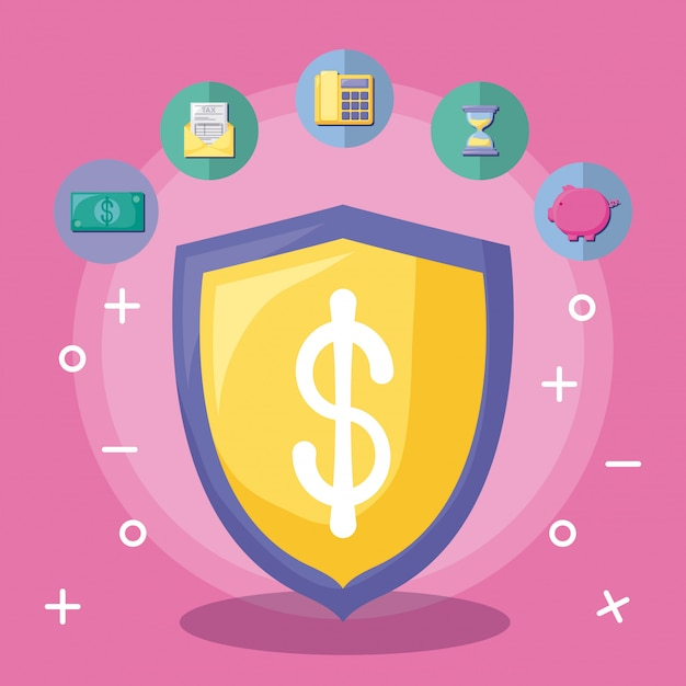 Shield with economy and financial with icon set Premium Vector