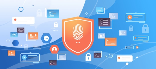 Shield with finger print scanning digital computer data technology security privacy biometric access Premium Vector