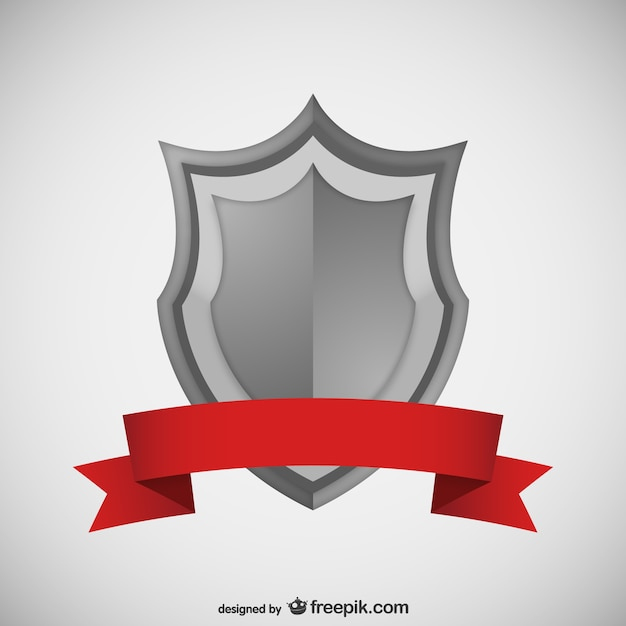 Shield With Red Ribbon Vector