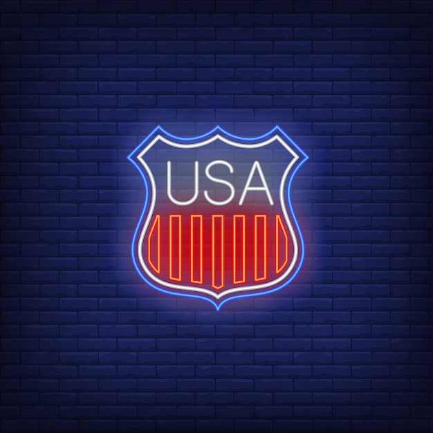 Shield with usa flag stripes neon sign Free Vector