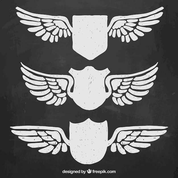 shield with wings vector free download