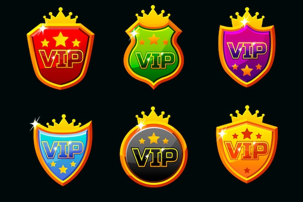 Щиты с набором vip-надписей Premium векторы