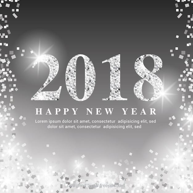 shimmering silver new year background free vector