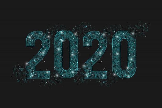 Shine number 2020 on dark Premium Vector