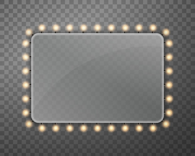 Shine string bulbs banner billboard lights. Premium Vector