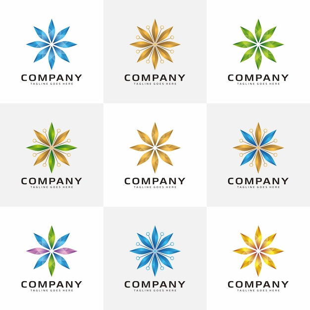Shining abstract crystal logo Premium Vector