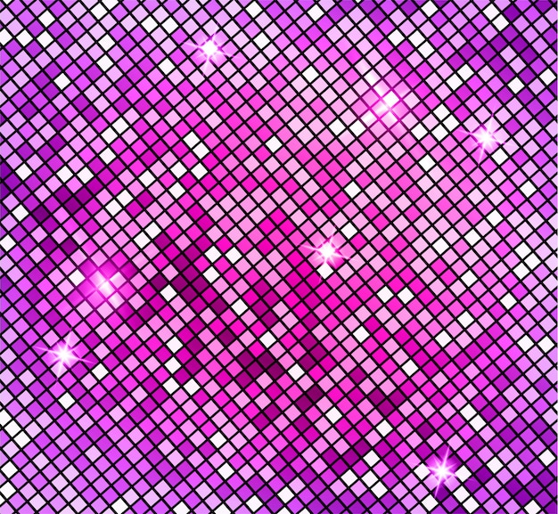 Shining abstract pink mosaic background. shiny mosaic in disco ball style.  silver disco lights background. abstract background Premium Vector