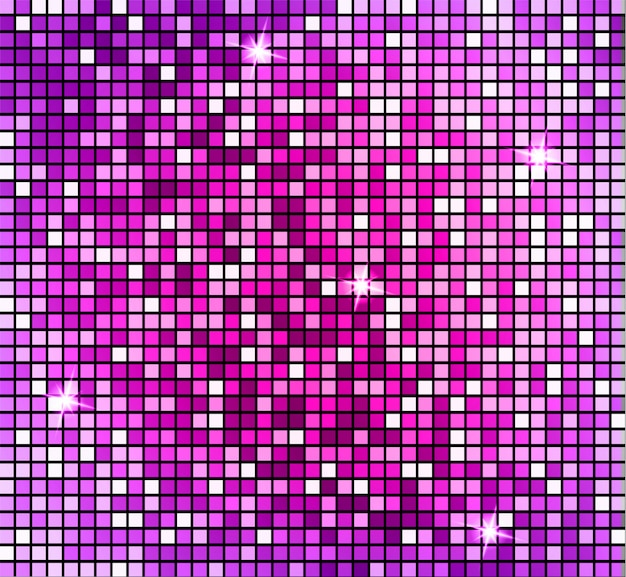 Shining abstract pink mosaic background. shiny mosaic in disco ball style. Premium Vector