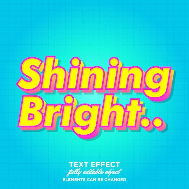 Shining bright font effect for brochure Premium Vector