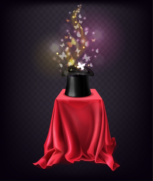 Shining butterflies flying out from black top hat standing on stand covered with red silk cape Free Vector