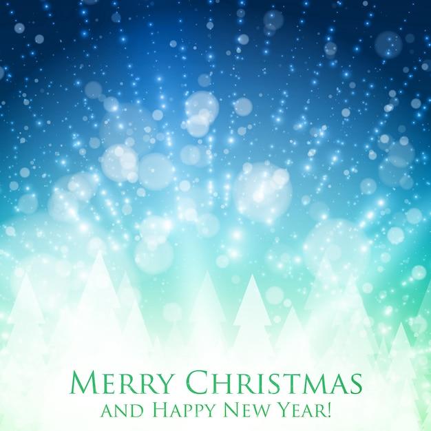 백라이트와 빛나는 입자와 빛나는 크리스마스 화려한 배경. 추상적 인 벡터 행복 한 새 해 배경입니다. 뒷면에 소나무 실루엣. 디자인에 대 한 우아한 빛나는 배경. 무료 벡터
