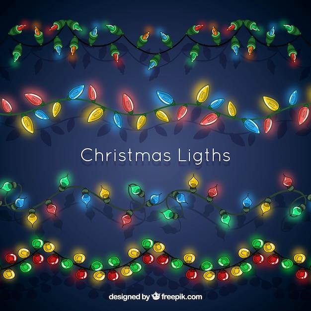 Shining christmas lights on a dark blue background