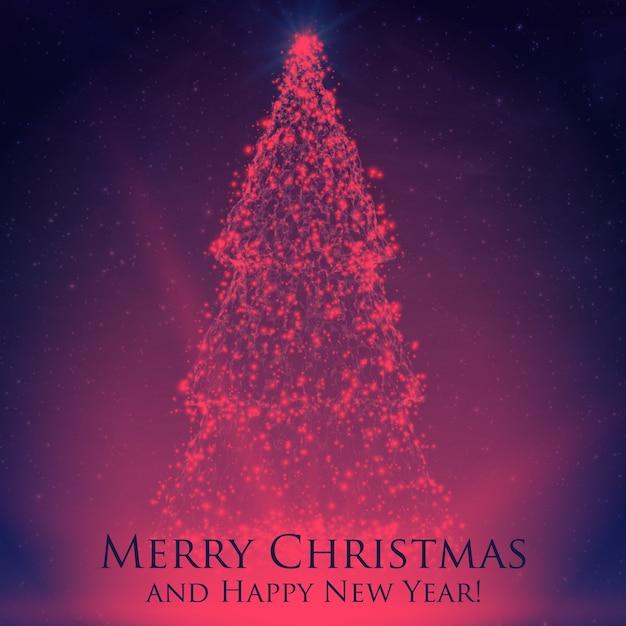 カラフルな背景にバックライトと輝く粒子で輝くクリスマスツリー。抽象的なベクトルの背景。輝くモミの木。あなたのためのエレガントな輝く背景デザイン。 無料ベクター