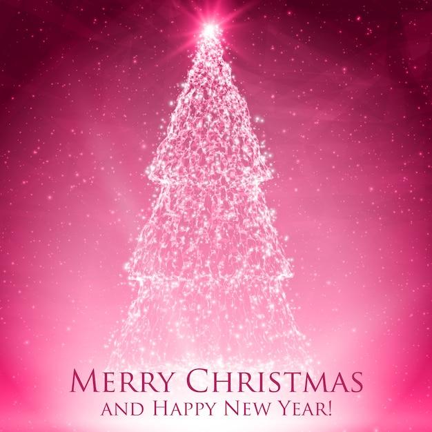 Сияющие рождественские елки на красочной красной поздравительной открытке с подсветкой и светящимися частицами. Бесплатные векторы