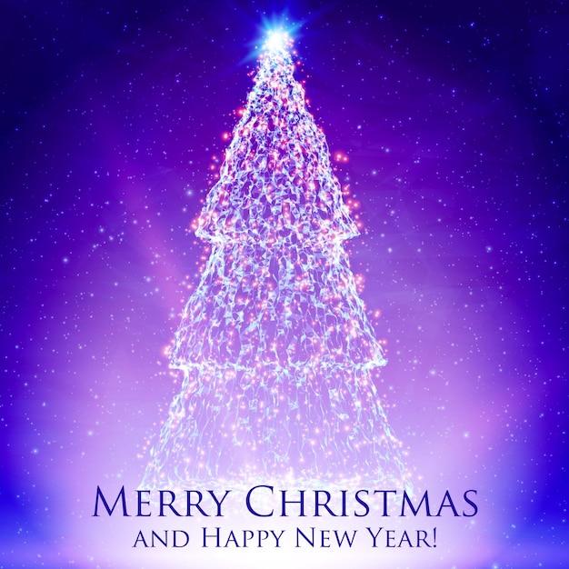 カラフルな紫色の背景にバックライトと輝く粒子で輝くクリスマスツリー。抽象的なベクトルの背景。輝くモミの木。あなたのためのエレガントな輝く背景デザイン。 無料ベクター