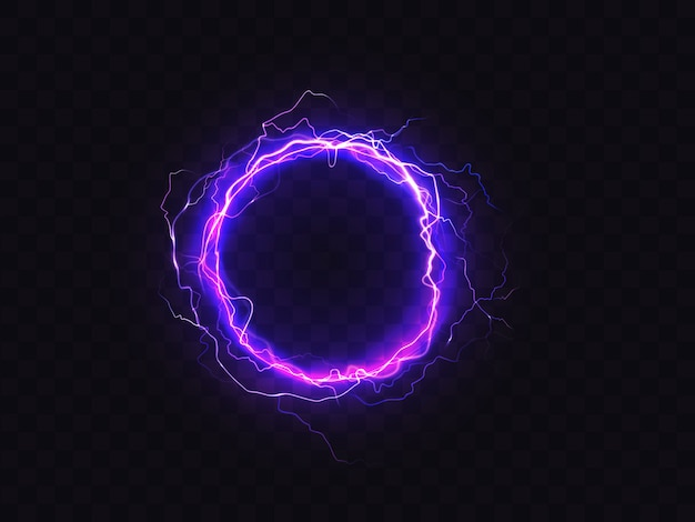 Shining circle of purple lighting isolated on dark background. Free Vector