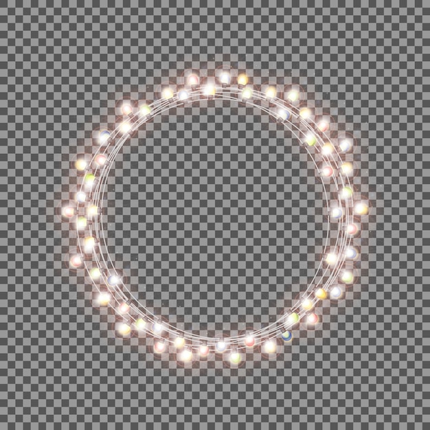 Shining garland with light bulb on transparent background. chris Premium Vector