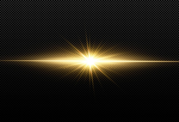 黒の背景に分離された輝く黄金の星。エフェクト、レンズフレア、輝き、爆発、黄金の光、セット。輝く星、美しい黄金色の光線。 。 Premiumベクター