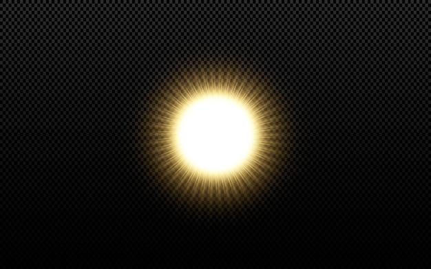 黒の背景に分離された輝く黄金の星。 Premiumベクター
