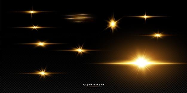 黒の背景に輝く黄金の星。エフェクト、グレア、ライン、グリッター、爆発、金色の光。図 Premiumベクター
