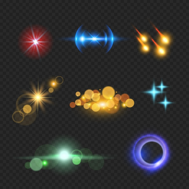 Shining lens flare effects. solar light bokeh realistic Premium Vector