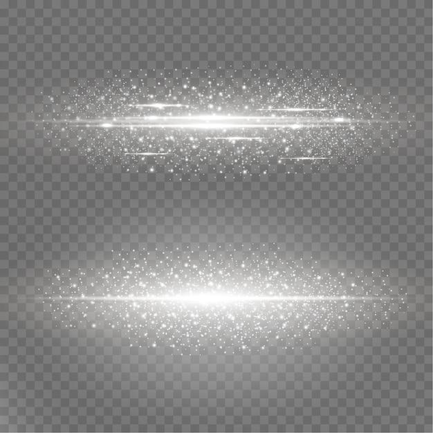 Shining luminous dust and glare. Premium Vector