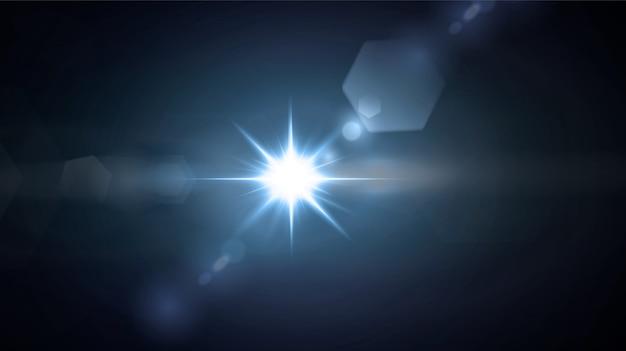 黒の背景に分離された輝くネオン星。エフェクト、レンズフレア、輝き、爆発、ネオンライト、セット。輝く星、美しい青い光線。 Premiumベクター