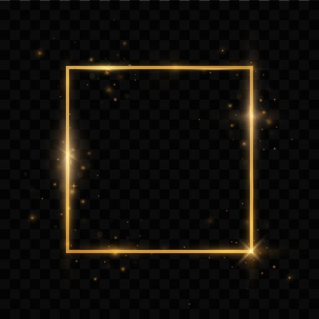 Shining rectangle banner. golden luxury frame. Premium Vector