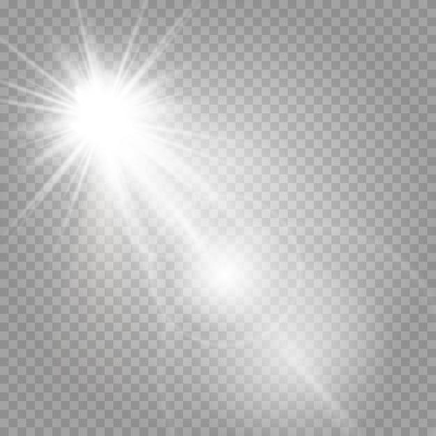 Сияющие звезды и сияющие блики Premium векторы