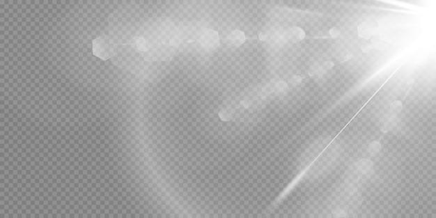輝く白い背景で隔離の星。効果、まぶしさ、輝き、爆発、白色光、セット。星の輝き、美しい太陽のまぶしさ。 。 Premiumベクター