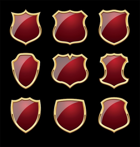 Shinny shield with gold frames Premium Vector